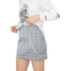 Extra Credit Plaid Mini Skirt ($38) ❤ liked on Polyvore featuring skirts, mini skirts, mini skirt, short plaid mini skirt, white skirt, plaid mini skirt and plaid miniskirts