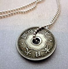 Antique Japanese 10 sen coin necklace - decorative holed coin - silverplated ball chain - Japan - Asian style - kanji