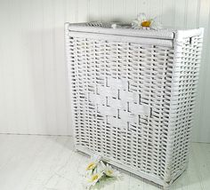 Vintage White Wicker & Wood Rectangular Hamper  by DivineOrders, $35.00