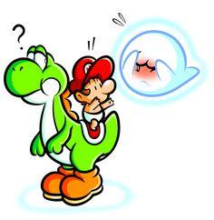 Yoshi and Baby Mario with Boo by JamesmanTheRegenold Super Mario Brothers, Super Mario Bros, Nintendo, Super Mario World, Mario And Luigi, Video Game Art, Artists Like, Game Character, Yoshi