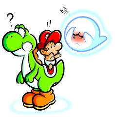 Yoshi and Baby Mario with Boo by JamesmanTheRegenold.deviantart.com on @deviantART
