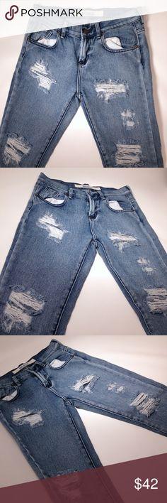 Brandy Melville Distressed Denim Awesome Brandy Melville Distressed Denim. Great Condition. Brandy Melville Pants Skinny