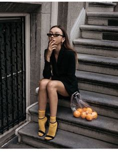 Balenciaga 2017 inspired outfit matrix sunglasses and bright yellow socks with strappy sandal and plastic bag with oranges conceptual editorial Fashion Week, Look Fashion, Street Fashion, Spring Fashion, Style Photoshoot, Photoshoot Inspiration, Fashion Socks, Fashion Clothes, Fashion Outfits