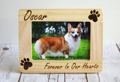 ♥ Personalized Wood Engraved Pet Memorial Picture Frame ♥  Holds a 4x6 photo  Includes glass to protect the photo and a wooden dowel for standing.  Engrave ANYTHING at the top & bottom of the picture frame.  After payment is made, please leave your engraving instructions in the note to seller box at checkout :)  Engraving on top:  Engraving on bottom: Feel free to message us with any questions