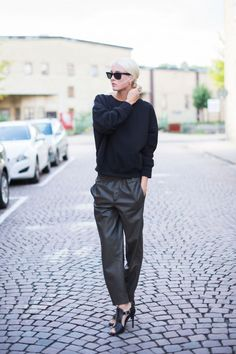 Ellen Claesson.  Chic casual.  These dropped rise pants work for women with long legs.  Shoes are killer awesome!  smithstyling.webs.com