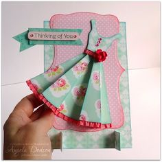 Another card made with those fabulous bella Rose papers. I created a dress card by folding the papers and added a real pleated ribbon trim.  Designed and handmade by Angela Dodson September 2014 (please note my designs are not to be directly copied, used for publications, or to enter challenges)