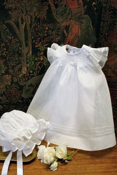 Promise Smocked Bishop with matching Smocked Bonnet Baby Christening Gowns, Baptism Dress, Smocking Baby, Smocked Baby Clothes, First Birthday Dresses, Blessing Dress, Baby Girl Dresses, Vintage Baby Dresses, Dress Girl