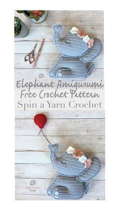 A free crochet pattern from Spin a Yarn Crochet toys patterns diy free crochet Elephant Amigurumi Crochet Pattern Free, Crochet Patterns Amigurumi, Crochet Dolls, Crochet Yarn, Crochet Crafts, Yarn Crafts, Crochet Projects, Crochet Ideas, Stuffed Animal Patterns