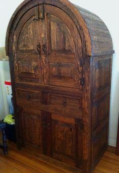 Beautiful Handmade Wooden Armoire with Wrought Iron Pulls, Handles and Bolts
