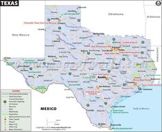Map of Texas. Huey and Joshua enter Mexico via Laredo, in 'A Good and Fair Trade'.