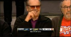 Jack Nicholson cheering for the Clippers