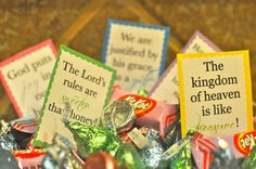 Easter Egg Printables - to pair with candy and treasures. Cards are printed with verses that tell of the joy and sweetness found through salvation in Christ.