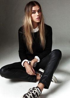 Joanna Halpin | black light knit | white shirt | black leather pants | converse
