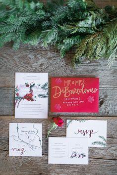 christmas wedding invitation suite from Christmas wedding in California http://www.trendybride.net/christmas-wedding-thousand-hills/