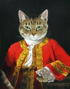 David Hume (Allan Ramsay) by Susan Herbert Costume Chat, Cat Costumes, Fancy Cats, Cute Cats, Animal Gato, Cat People, Pet Clothes, Animal Paintings, Cat Life