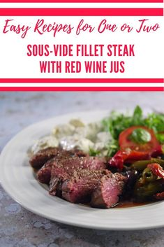 Sous-Vide Fillet Steak with Red Wine Jus - Best Beef Recipes, Steak Recipes, Fish Recipes, Healthy Recipes, Simple Recipes, Keto Recipes, Vegetarian Recipes, Healthy Food, Dinner Recipes