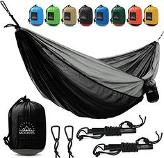 fine Camping Hammock Double Parachute Portable Travel Large Tree Camp Hammock with Hammock Straps for Backpacking Best Quality Lightweight Two Person Hammock Camping Men Women Black - Alyssa Young , Check more at. Portable Hammock, Outdoor Hammock, Camping Hammock, Hammocks, Indoor Outdoor, Outdoor Camping, Cheap Camping Gear, Camping Equipment, Camping Tools