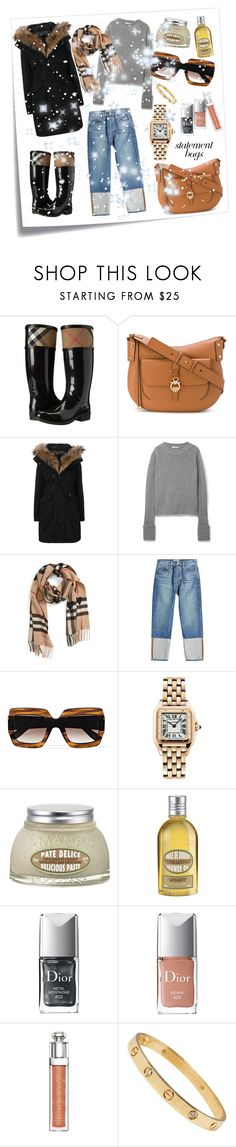 """""""STATEMENT BAGS"""" by petra-f-b ❤ liked on Polyvore featuring Post-It, Burberry, Salvatore Ferragamo, Woolrich, The Row, Frame, Gucci, Cartier, L'Occitane and Christian Dior"""