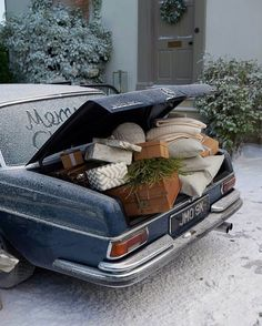 "278 Likes, 8 Comments - @downtothewoods on Instagram: ""Oh to have a vintage Mercedes and stuff it full of gifts! Speaking of stuffing, our elves have been…"""