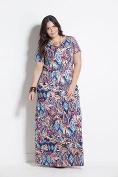 Vestido Longo Plus Size Floral e Geométrico Marguerite