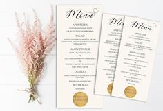 Modern Wedding Menu Printable Gold Metallic