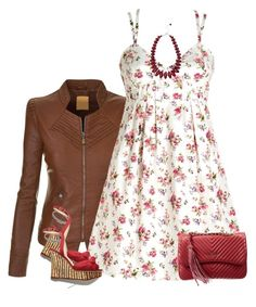 """""""Strappy Dress and Leather Jacket"""" by daiscat ❤ liked on Polyvore featuring Whiteley, Mia Bag and M&Co"""