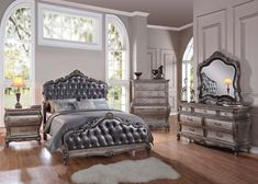 Chantelle 5 PC French Rococo Bedroom Set in Antique Silver (Bed, Nightstand, Dresser, Mirror and Chest)