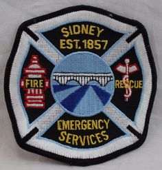 Sidney Emergency Services Fire/Rescue Patch Patches For Sale, Selling On Ebay, Fire, Best Deals