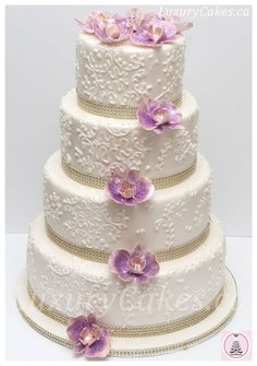 Moth orchid wedding cake - by Sobi @ CakesDecor.com - cake decorating website
