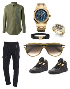 """Buffs and Pinkie Rings"" by oliviaraeoriginal ❤ liked on Polyvore featuring Versace, Faith Connexion, Fendi, Audemars Piguet, Cartier, Giuseppe Zanotti, men's fashion and menswear"