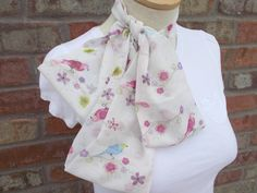 Pink and Off White Spring Scarf Infinity Scarf with Birds and Flowers Summer Scarf  Lightweight Scarf Spring Accessories Pretty Scarves by foreverandrea on Etsy