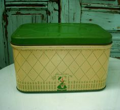 50's Tin Vintage Bread Box Cottage Chic by honeystreasures