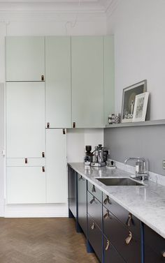 Kitchen in blue and green - via http://cocolapinedesign.com