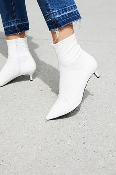 FP Collection White Marilyn Kitten Heel Boot at Free People $128