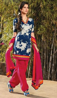 G3 fashions Navy Magenta Cotton casual Wear Designer Salwar Suit  Product Code : G3-LSA104999 Price : INR RS 2670