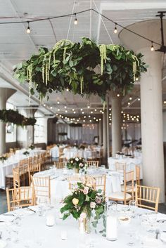 AMAZING hanging florals at the Lake Erie Building in Lakewood, Ohio / photo by Suzuran Photography