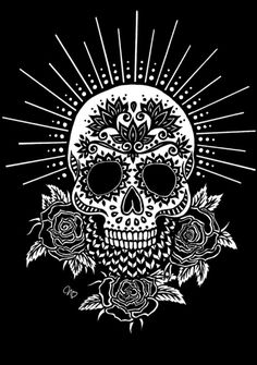Sugar Skull design, I like the halo and the chevron pattern Sugar Skull Tattoos, Sugar Skull Art, Sugar Skulls, Sugar Skull Design, Memento Mori, Caveira Mexicana Tattoo, Catrina Tattoo, Totenkopf Tattoos, Day Of The Dead Skull