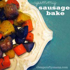 yummy sausage bake- healthy EASY dinner!