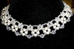 Find Beading Tutorial: Elegant Beaded Necklace in the Jewelry Making Tutorials - Beadweaving - Thread - Necklaces category on DIY Lessons - Learn Jewelry Making With Online Lessons, Videos and PDF Tutorials Body Necklace, Leather Necklace, Leather Jewelry, Wire Jewelry, Jewelry Crafts, Wedding Jewelry, Beaded Jewelry, Handmade Jewelry, Beaded Necklace