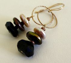 Pearl and onyx 14k gold fill earrings