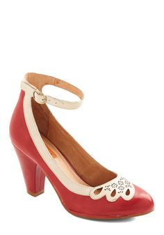Hum a Happy Tune Heel in Cherry by Miz Mooz - Red, Solid, Cutout, Wedding, Holiday Party, Mid, Leather, Tan / Cream, Vintage Inspired, Varia...