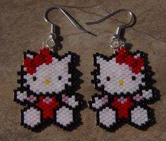 sandylandya@outlook.es  Hello Kitty Earrings Hand Made Seed Beaded via Etsy