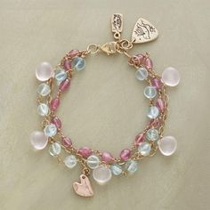 TWILIGHT SKIES BRACELET -- Rose quartz, pink tourmaline and aquamarine echo the magical colors of Jes MaHarry's twilight views. 14kt gold charms and rose gold heart charm