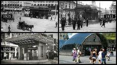 La marquesina de acceso al metro de Sol diseñada por el arquitecto Palacios en su aspecto original (1925) y en el momento en que comenzó a ser desmantelada (1933). Abajo, la entrada en 1950 y su aspecto actual.