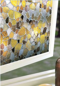 Pebble design window film for total privacy.