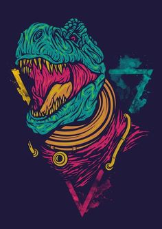 Draw Dinosaurs Digital Drawing Illustration on Behance - Poster Design, Design Art, Graphic Design, Art Graphique, Illustrations And Posters, T Rex, Digital Illustration, Dinosaur Illustration, Vector Art