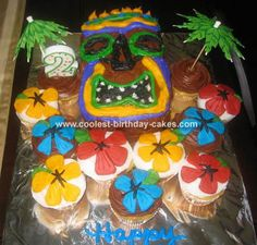 Tiki Mask Cake: For my son's 2nd birthday party we did a Luau theme.  For his Tiki Mask cake and cupcakes I used 2 boxes of Duncan Hines cake total and about 4 lbs of