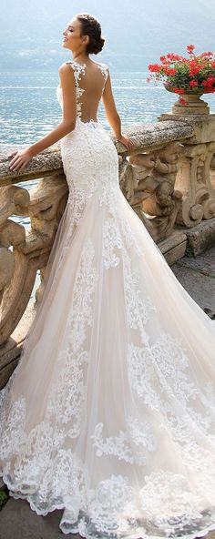 """Lace Wedding Dresses Wedding Dress by Milla Nova White Desire 2017 Bridal Collection - Amalia - Dramatic elegance is oozing out of every single wedding dress in Milla Nova """"White Desire"""" 2017 Bridal Collection. Every bridal gown brings gorgeous style. Backless Mermaid Wedding Dresses, Wedding Dresses 2018, 2017 Wedding, Wedding Dress Trumpet, Italian Wedding Dresses, Weeding Dresses, White Bridal Dresses, Wedding Dress Train, 2017 Bridal"""