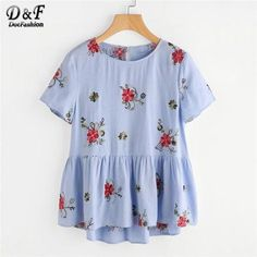 8d1d3a600e1 Dotfashion Flower Embroidered Keyhole Back Smock blouse Women Round Neck  Short Sleeve Ruffle Hem Button Shirt 2018 Summer Tops