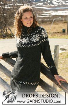 """Strikket DROPS nordisk genser med rundfelling i 2 tråder """"Alpaca"""". Str S - XXXL ~ DROPS Design"""